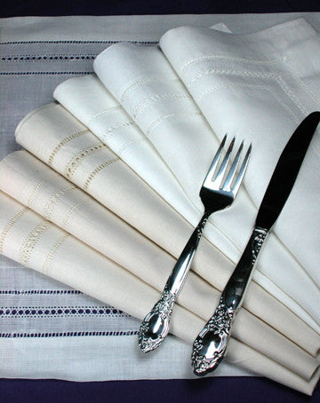 "Multi-Hemstitch Napkin White 18"" Inch"