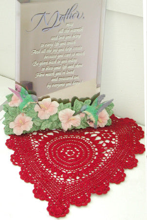 "Poppy Heart Shaped Doilies Red 14"" Inch"