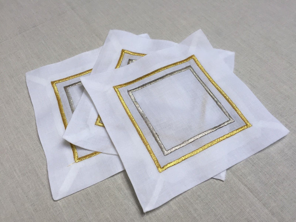Gold / Silver Embroidered Cocktail Napkin 6