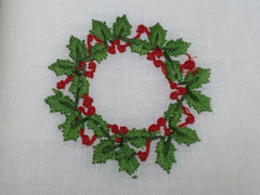 "Christmas White Ivory Hollyberries Napkin 22"" Inch"