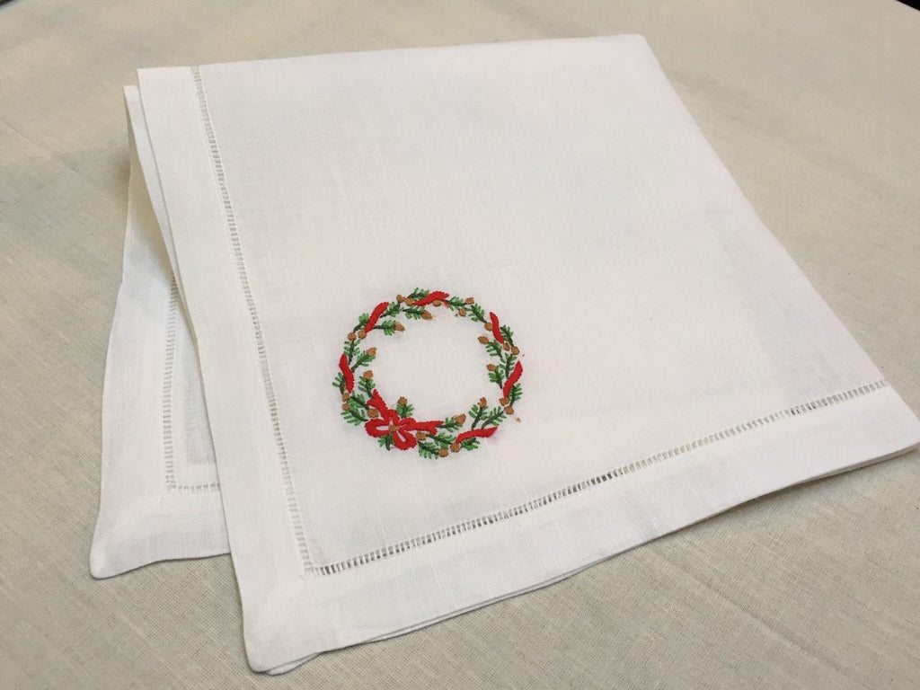 "Christmas White Ivory Evergreen Napkin 22"" Inch"