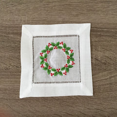 "Christmas Hollyberries Cocktail Napkin 6"" Inch"