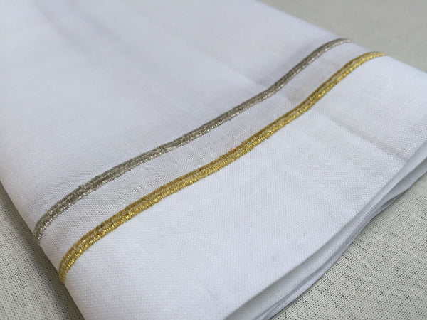 Gold Silver Embroidered Lunch Dinner Napkin 20 Quot Inch