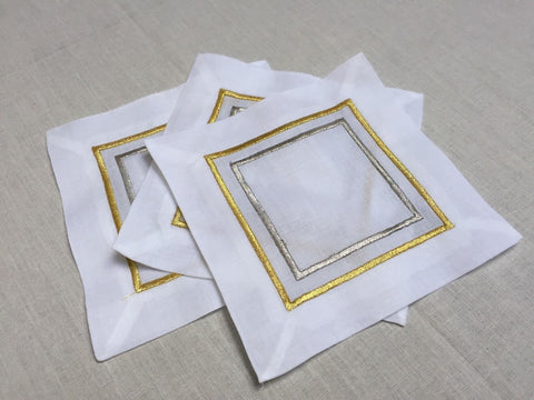 "Gold / Silver Embroidered Cocktail Napkin 6"" Inch Set of 4"