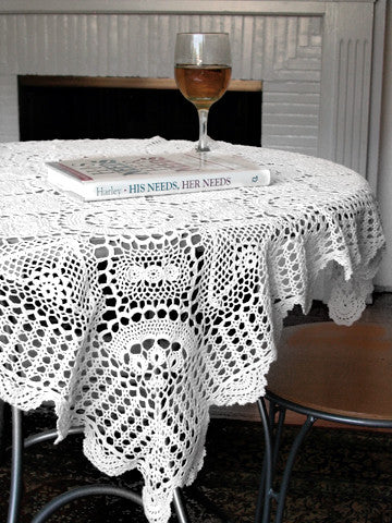 Crochet Lace Table Topper 34 Inch Square White