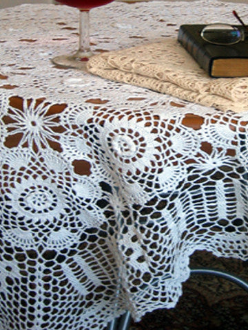 Crochet Lace Table Topper 68 Inch Square White