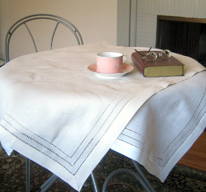 Multi-Hemstitch Table Topper 36 Inch Square Ecru