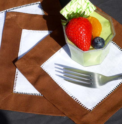 Coco Bean Border Hemstitch Cocktail Napkin
