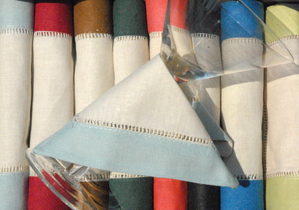"Granite Blue Border Hemstitch Napkin Beige 6"" Inch"