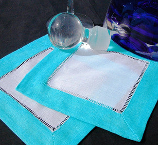 "Sky Blue Border Hemstitch Cocktail Napkin 6"" Inch"