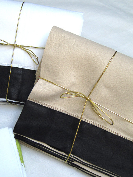 Beige Black  Border Hemstitch Guest Towel