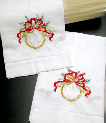 Golden Ribbon Christmas Towel