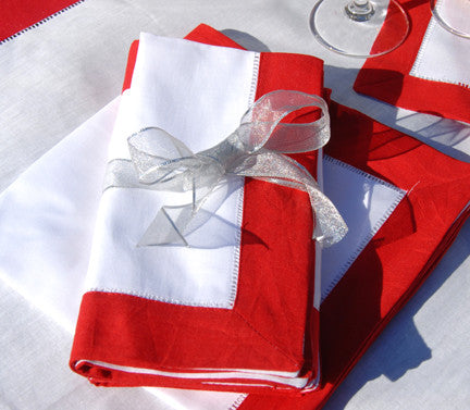 "Red Border Hemstitch Napkin 18"" Inch"