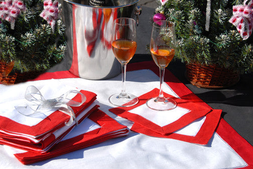 "Red Border Hemstitch Napkin 22"" Inch"