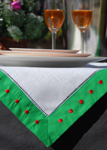 "Green Border/Red Swiss Dot Hemstitch Napkin 22"" Inch"
