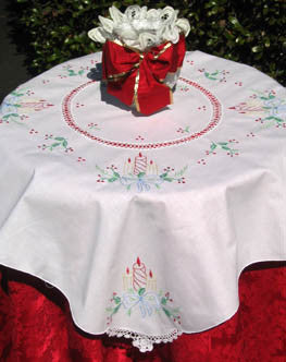 Christmas Candle Light Table Topper 34 Inch Square