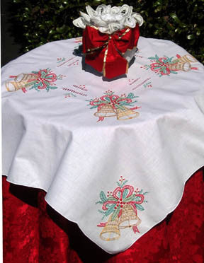 Christmas Bell Table Topper 34 Inch Square