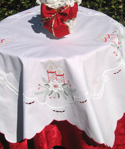 Christmas Candles Table Topper 34 Inch Square
