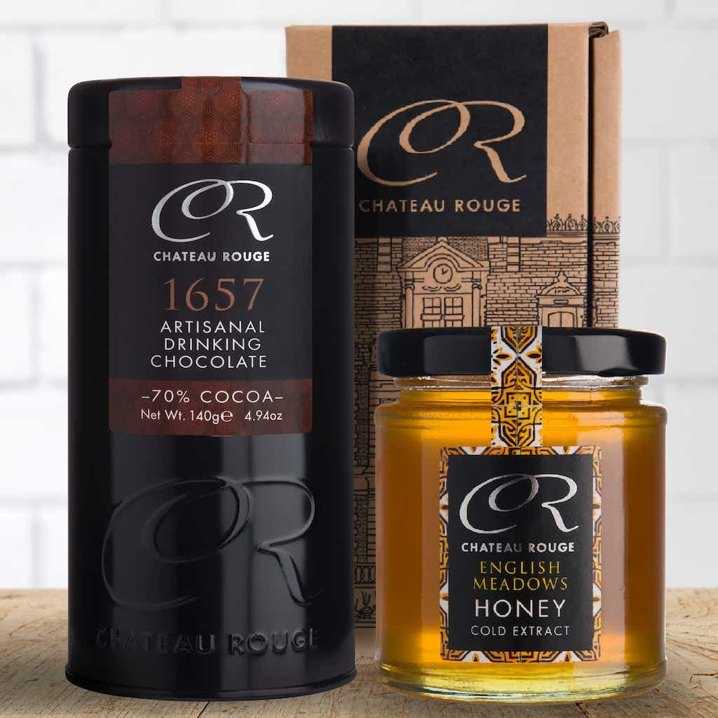 Chateau Rouge Fine Foods UK_Great Taste Awards 2017 for raw honey and dark hot chocolate luxury drinking tins