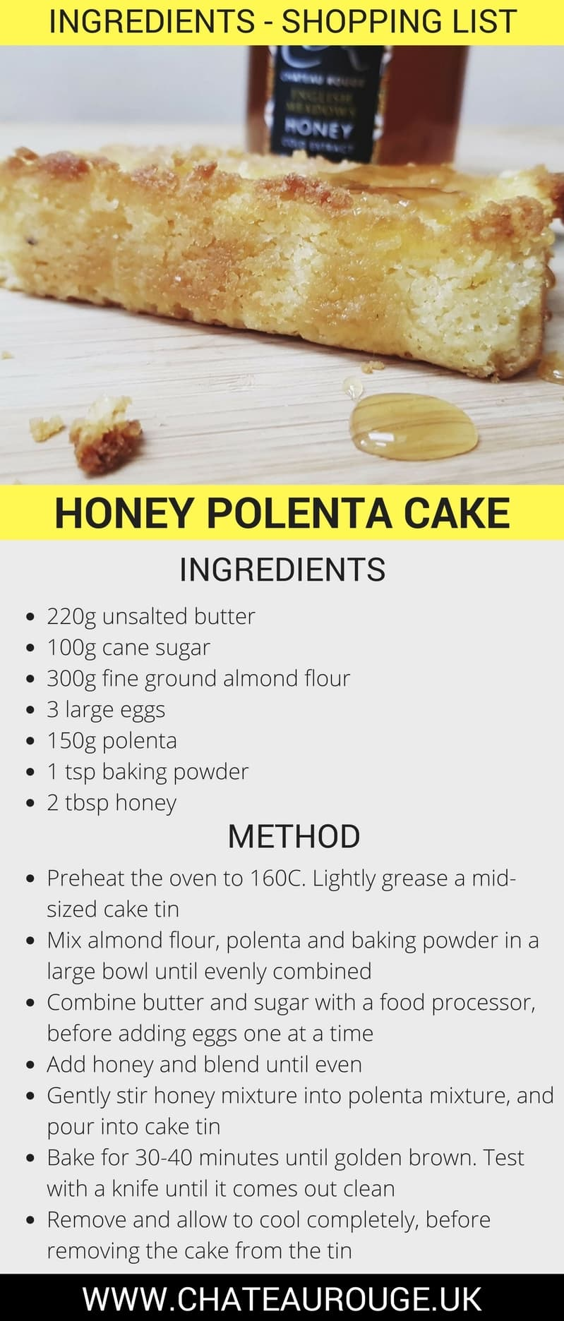 Chateau Rouge Fine Foods UK_The perfect teatime treat- Honey Polenta Cake 100% Gluten-free_RECIPE DOWNLOAD