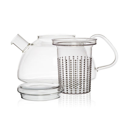 large glass loose leaf teapot with infuser