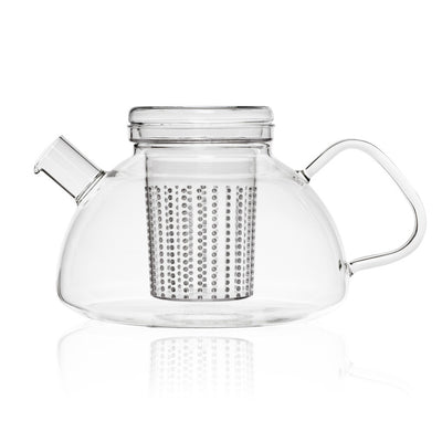 large glass loose leaf teapot