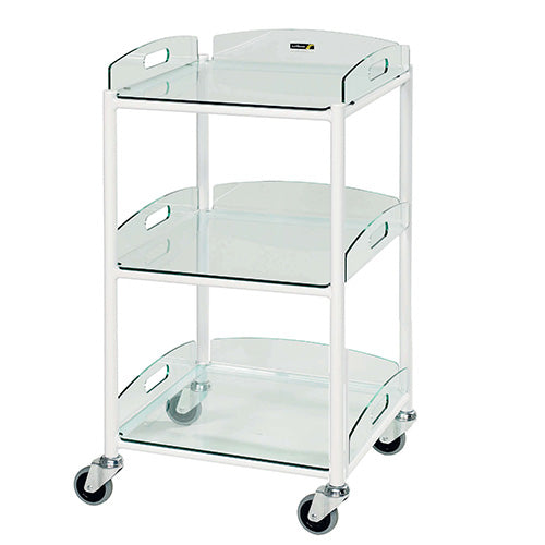 Small Dressing Trolley - 3 Glass Effect Safety Trays