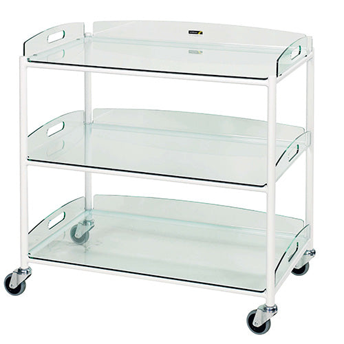 Large Dressing Trolley - 3 Glass Effect Safety Trays