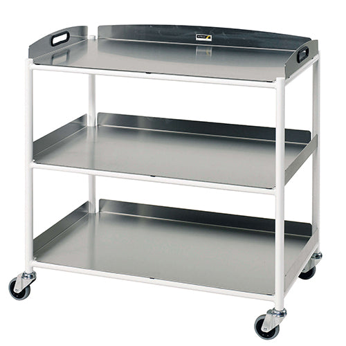 Large Dressing Trolley, 3 Stainless Steel Trays