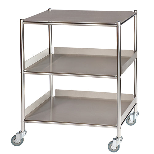 Medium Surgical Trolley, 1 Stainless Steel Shelf & 2 Trays