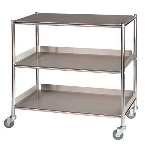 Large Surgical Trolley - 1 Stainless Steel Shelf & 2 Trays