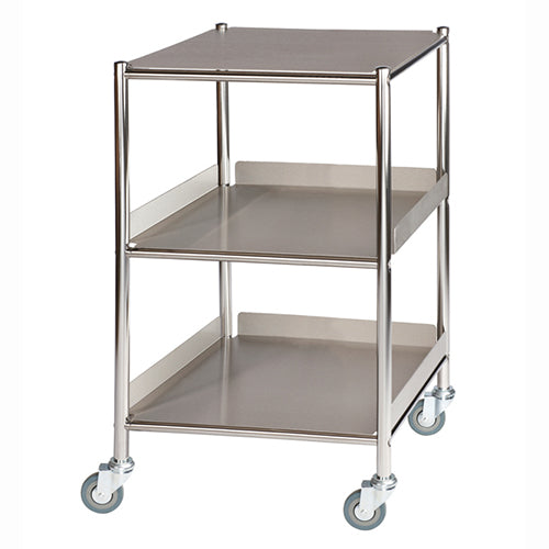 Small Surgical Trolley - 1 Stainless Steel Shelf & 2 Trays