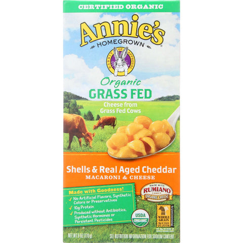 Annie's Homegrown Organic Grass Fed Shells & Real Aged Cheddar Macaroni & Cheese -- 6 oz