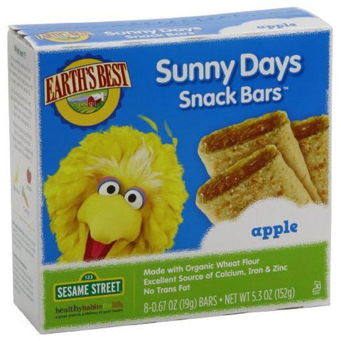 Earth's Best Organic Sunny Days Snack Bars Sesame Street Apple -- 8 Bars