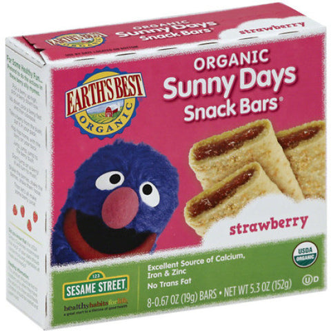 Earth's Best Organic Sunny Days Snack Bars Sesame Street Strawberry -- 8 Bars