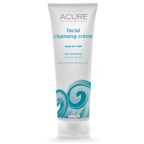 Acure Organics Facial Cleansing Creme Argan Oil + Mint -- 4 fl oz