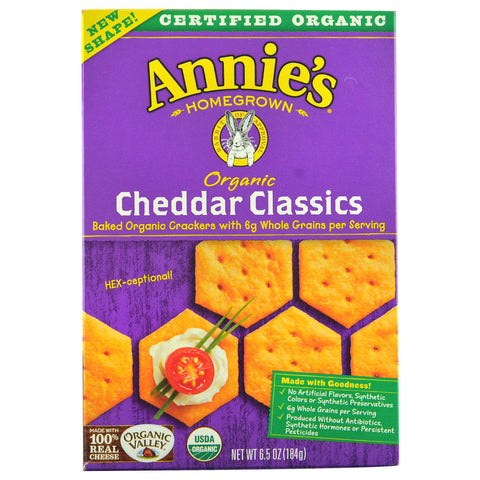 Annie's Homegrown Organic Classics Crackers Cheddar -- 6.5 oz