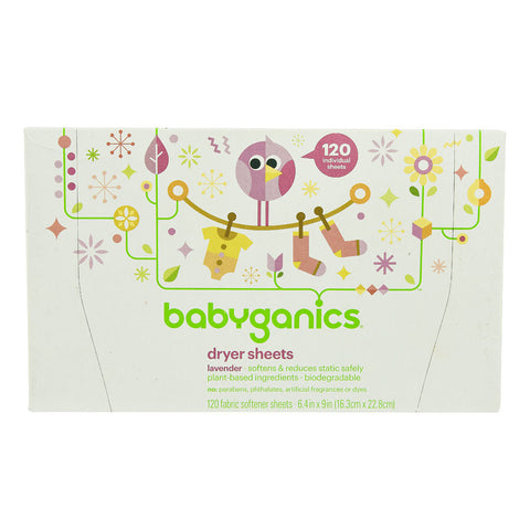 Babyganics Dryer Sheets Baby Lavender -- 120 Sheets