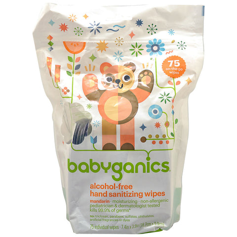 Babyganics Hand Sanitizing Wipes Mandarin Alcohol Free -- 75 Wipes