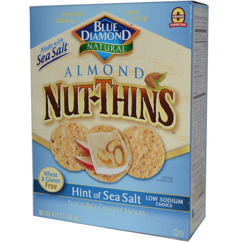 Blue Diamond Natural Almond Nut-Thins Cracker Snacks Hint of Sea Salt -- 4.25 oz