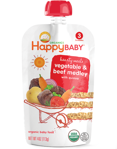 Happy Baby Organic Baby Food Stage 3 Vegetable & Beef Medley -- 4 oz