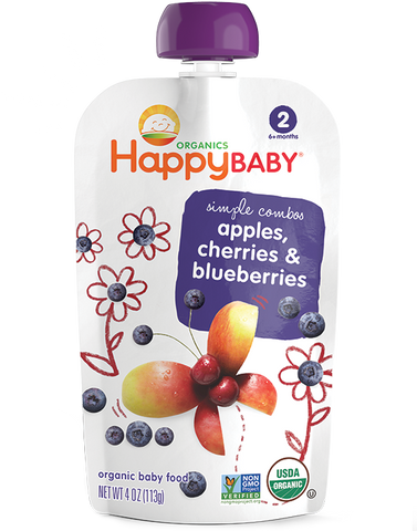 Happy Baby Organic Baby Food Stage 2 Apples, Cherries & Blueberries -- 4 oz