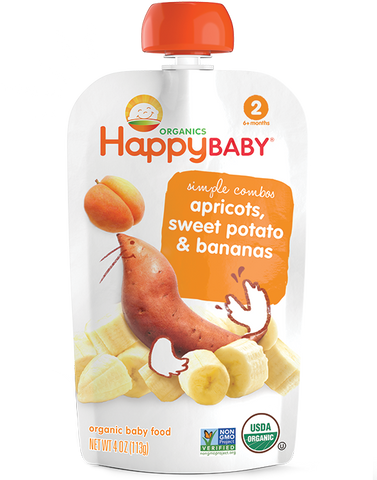 Happy Baby Organics Baby Food Stage 2 Apricots Sweet Potato & Bananas -- 3.5 oz