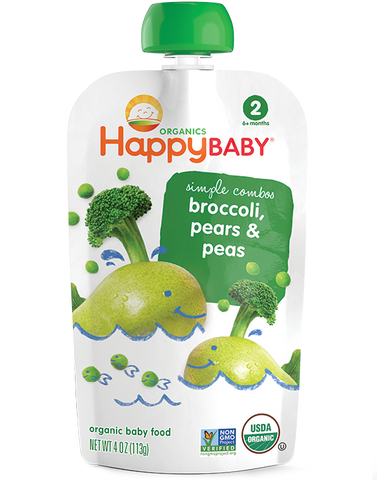 Happy Baby Organic Baby Food Stage 2 Broccoli Peas and Pear -- 3.5 oz