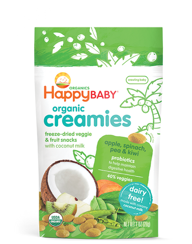 Happy Baby Happy Coconut Creamies Organic Superfoods Apple Spinach Pea and Kiwi -- 1 oz