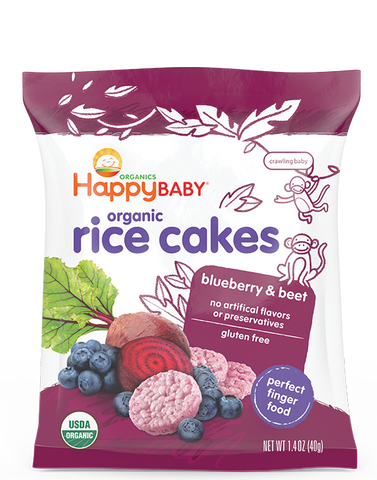Happy Baby Happy Munchies Organic Rice Cakes Blueberry & Beet -- 1.41 oz