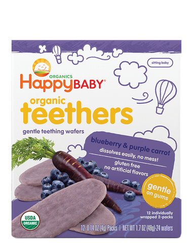 Happy Baby Organic Baby Food Gentle Teethers Blueberry & Purple Carrot -- 1.7 oz