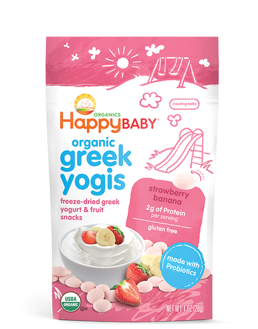 Happy Baby happyyogis Organic Superfood Greek Yogurt Strawberry Banana -- 1 oz