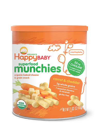 Happy Baby Happy Munchies Baked Organic Cheese & Grain Snack Cheddar Cheese with Carrot -- 1.63 oz