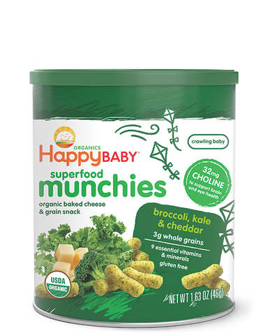 Happy Baby Happy Munchies Baked Organic Cheese & Grain Snack Broccoli, Kale & Cheddar -- 1.63 oz
